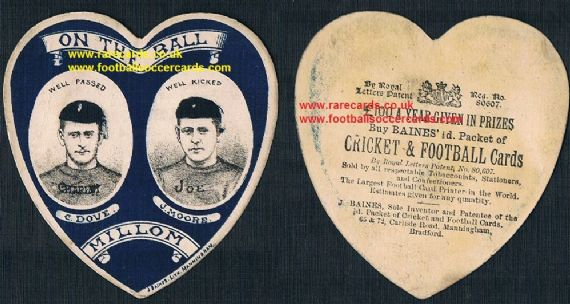 1880's Millom Oldest amateur RLFC card Joe Moore Charles Dove Baines Litho Manningham